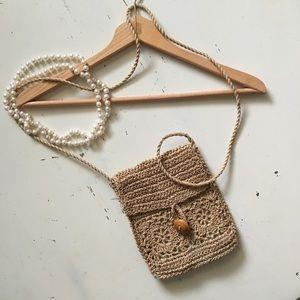 Vintage | Tan Woven Crossbody Boho Style Bag